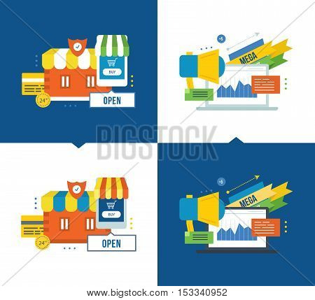 Concept of illustration - online buying, mobile marketing and secure payments, media, communications, promotions and discounts. Vector illustrations on a light and dark background.