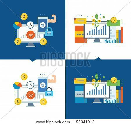 Investment the stock market, investment growth, online payments, payments security, mobile marketing, a guarantee of protection. Vector illustrations on a light and dark background.