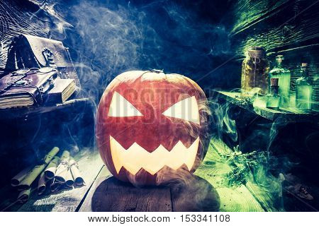 Smoking Halloween Pumpkin With Blue And Green Smoke
