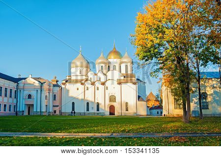 St Sophia cathedral at sunny autumn evening in Veliky Novgorod Russia - architecture autumn landscape of architecture landmark of Veliky Novgorod Russia