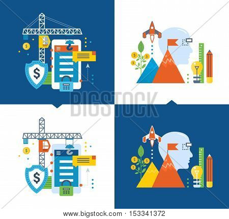 Protection and data security, protection of personal information, development and monetization of applications, the creative process and start up, investment and growth. Light and dark background.