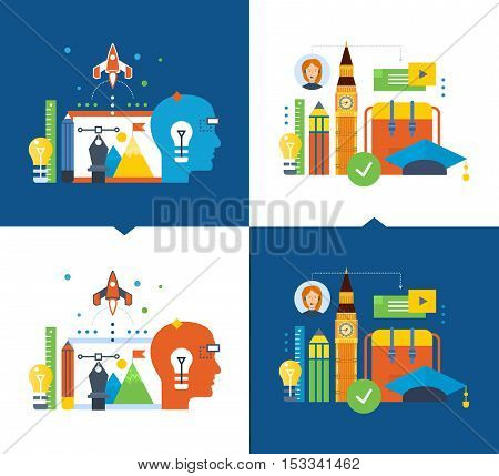Concept of illustration - modern education and distance learning, creativity, creative thinking, vision, back to school. Vector illustration on a light and dark background.