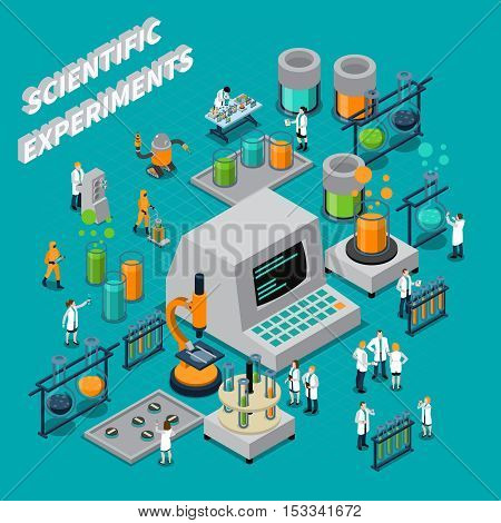 Scientific experiments isometric composition with people and technology symbols vector illustration