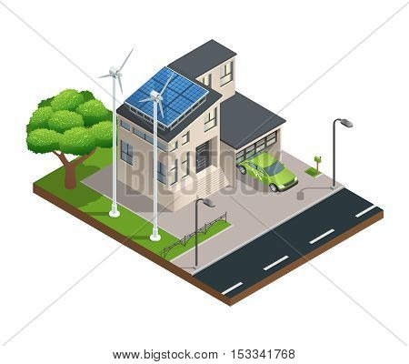 Modern green eco house with garage lawn solar panels producing electricity on roof and two wind turbines isometric vector illustration