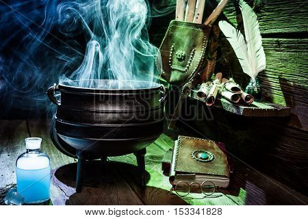 Magical Witch Pot With Scrolls And Books For Halloween
