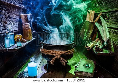 Vintage Witch Pot With Blue And Green Smoke For Halloween