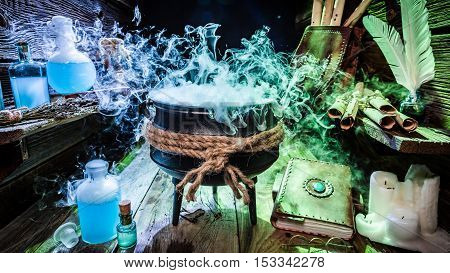 Mysterious Witcher Cauldron With Books And Potions For Halloween