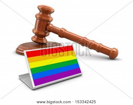 3D Illustration. 3d wooden mallet with text LGBT. Image with clipping path