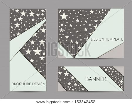 Design Brochure With Stars. Pattern Banner And Flyer With Stars. Brochure Design Template. Vector Il