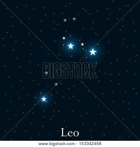 Leo Zodiac Sign. Bright Stars In The Cosmos. Constellation Leo. Vector Illustration.