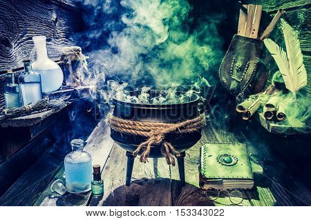 Full Of Magic Mixture Witch Pot With Blue Potions