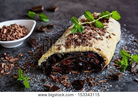 Chocolate Strudel With Cherry