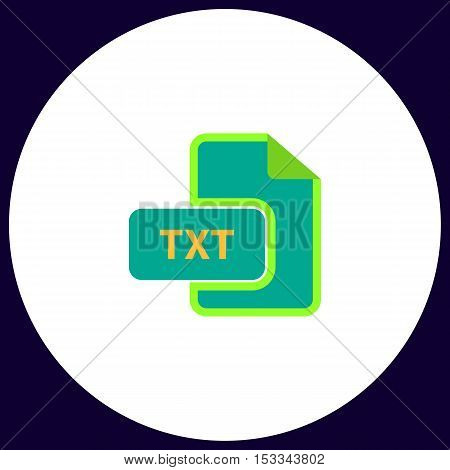 TXT Simple vector button. Illustration symbol. Color flat icon