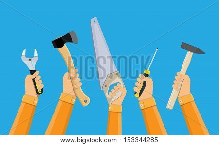 hands of workers holding building tools, ax, hammer, wrench, screwdriver, saw. manual workers protest. vector illustration in flat design