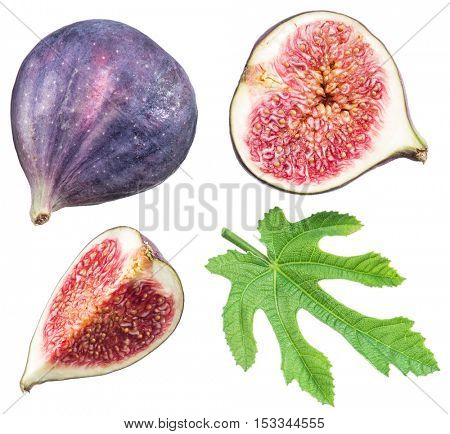 Ripe fig fruits and leaf. File contains clipping paths.