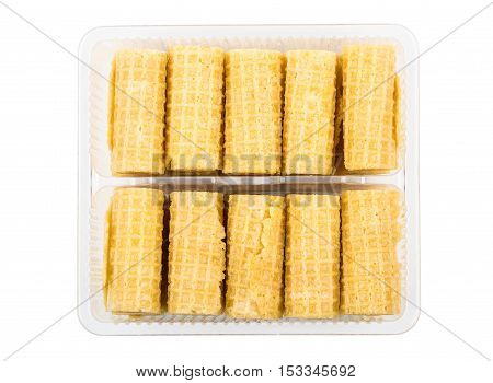 Small Wafer Rolls In Transparent Plastic Box