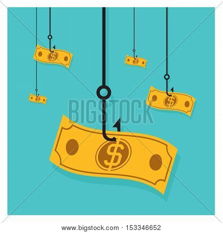 Business Vector hook icon dollar cash pile of money on a Orange ba