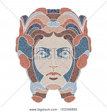 Bright patterned woman portrait, zodiac Virgo sign, patterned