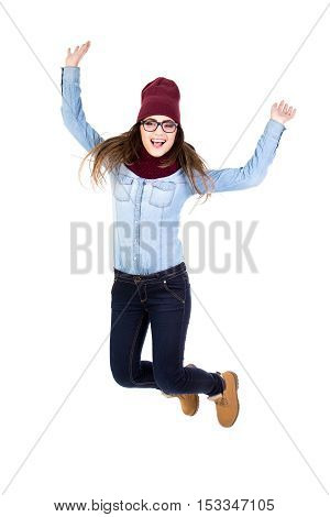 Funny Teenage Girl Jumping Isolated On White