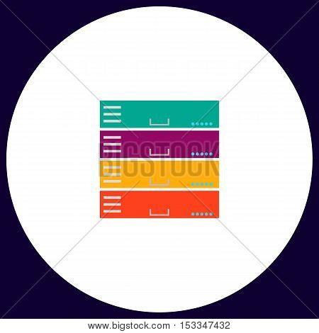 Server Simple vector button. Illustration symbol. Color flat icon