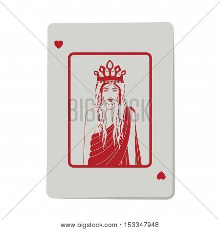 casino heart queen cards poker icon. icon over white background.  gambling games design. vector illustration