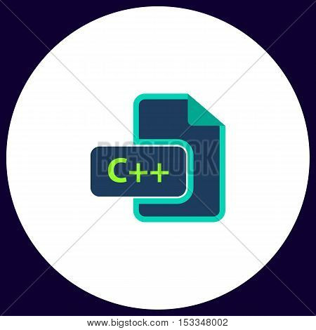 C++ Simple vector button. Illustration symbol. Color flat icon