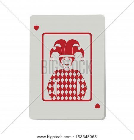 casino heart joker cards poker icon. icon over white background.  gambling games design. vector illustration