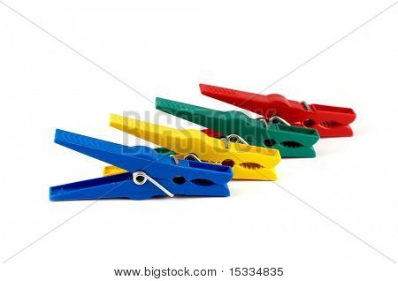 colour clothes-peg isolated on white background