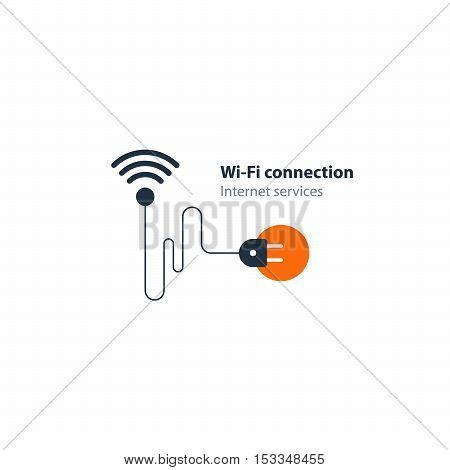 Flat design vector illustration graphic elements, network installation