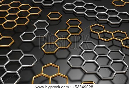 3D generated golden and silver honeycomb illustration as a background