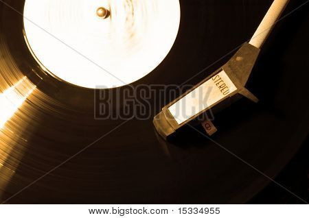 Old vinyl player , sepia effect