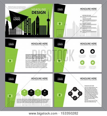 Presentation templates, Infographic elements template flat design. Green style. Set for annual report brochure flyer leaflet marketing advertising banner template