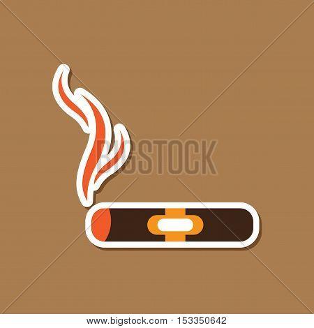 paper sticker on stylish background of cuba cigar