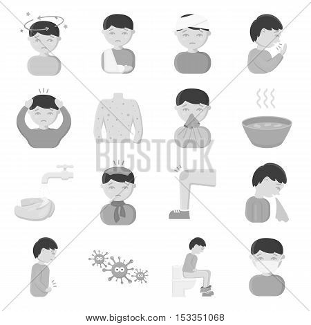Sick set icons in monochrome style. Big collection of sick vector symbol stock