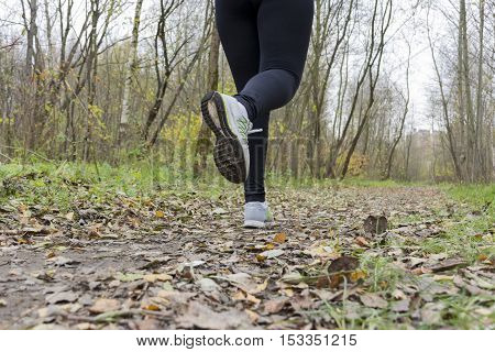 the girl an athlete a woman runs in grey sneakers the path the path in the Park among the trees in the fall