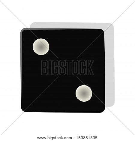 black dice cube icon over white background. gambling games design. vector illustration