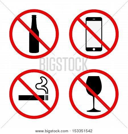 Set of signs ban no phone no smoke no alcohol