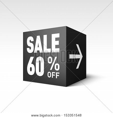 Black Cube Banner Template for Holiday Sale Event. Sixty Percent off Discount