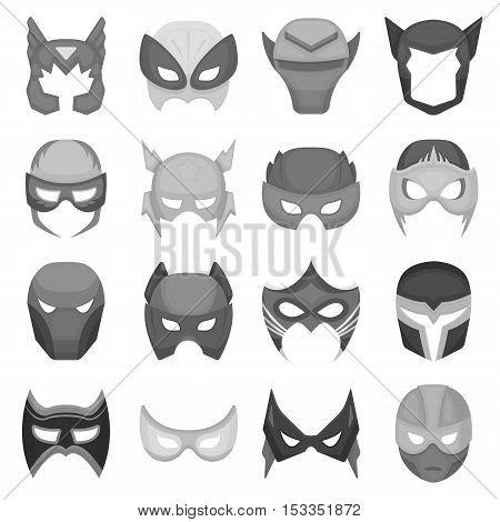 Superhero mask set icons in monochrome style. Big collection of superhero mask vector symbol stock