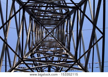 Looking up to a electric pylon with some interesting structure.