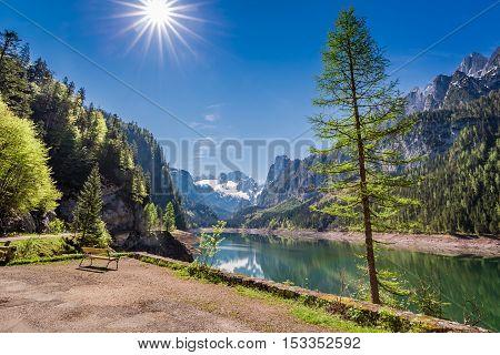 Beautiful Dawn At Mountain Lake In Gosau, Alps, Austria