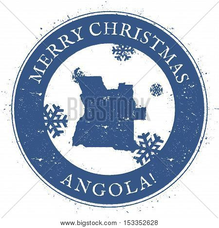 Angola Map. Vintage Merry Christmas Angola Stamp. Stylised Rubber Stamp With County Map And Merry Ch