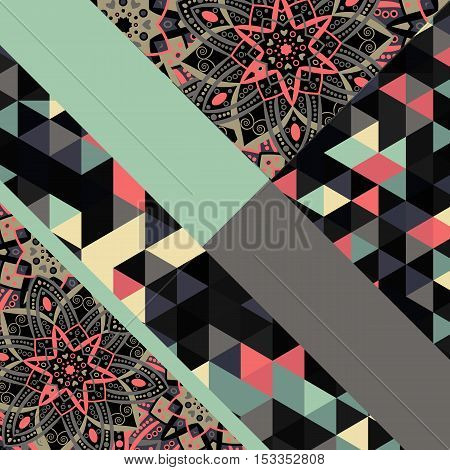 Abstract hand drawn geometric pattern triangle or background. Poster, card, textile, pattern desktop Wallpaper. Geometric floral pattern. Eastern ornament. Bright print texture.