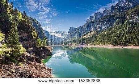 Wonderful Dawn At Mountain Lake In Gosau, Alps, Austria