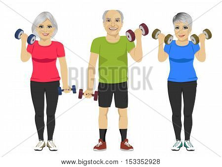 group of senior people exercising dumbbell workout over white background