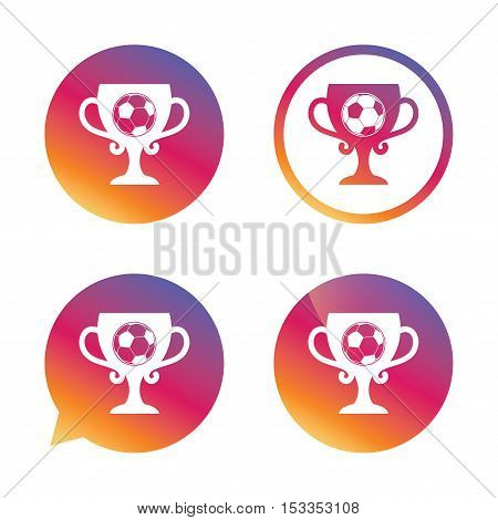 Football ball sign icon. Soccer Sport symbol. Winner award cup. Gradient buttons with flat icon. Speech bubble sign. Vector