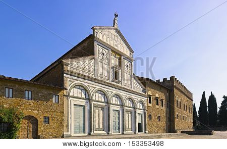 Basilica San Miniato al Monte in Florence or Firenze church in Tuscany Italy Europe