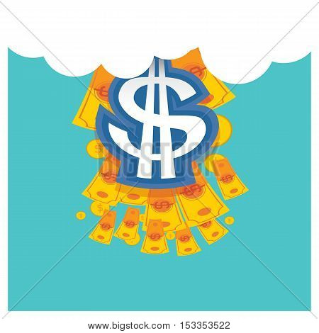 vector money Businessfrom the sky cloud on blue background