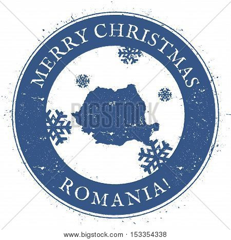 Romania Map. Vintage Merry Christmas Romania Stamp. Stylised Rubber Stamp With County Map And Merry
