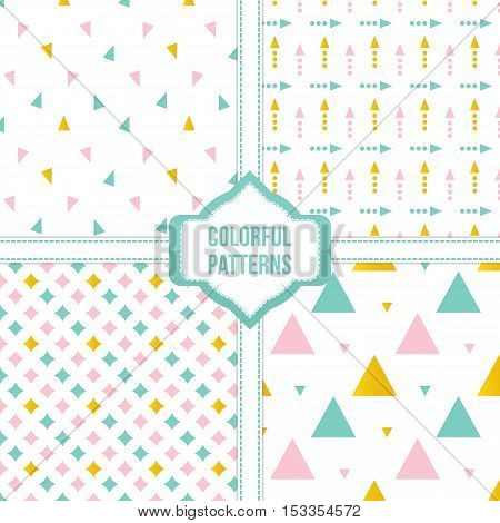 Set, collection of four colorful triangle, geometric seamless pattern backgrounds.